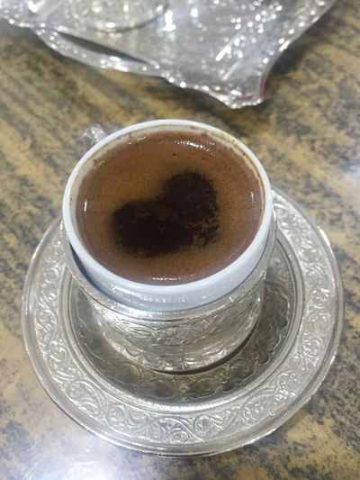 Greek Coffee  Food And Drink Drink Table No People Love Heart Shape Heart Cafe Turkish Coffee Turkishcoffee Coffee Coffee - Drink
