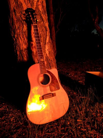 Blazin' Guitar Guitarist Music Musical Instrument Fire Campfire Camping Camp Firework Display Acoustic Guitar Acoustic Acoustic Music Acoustics Night No People Outdoors