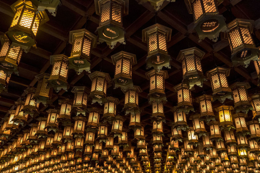 Light Lights Abundance Architecture Backgrounds Belief Building Built Structure Ceiling Creativity Decoration Design Full Frame Hanging Illuminated Indoors  Large Group Of Objects Low Angle View No People Ornate Pattern Place Of Worship Religion Repetition