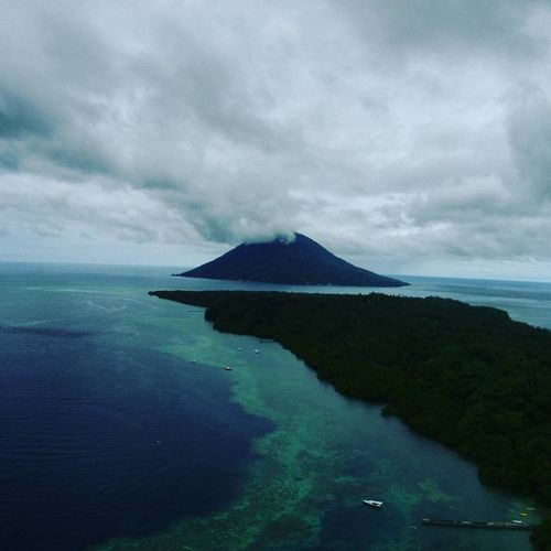 view of mount manado tua from bunaken altitude 150mtrs DJI X Eyeem EyeEm Selects EyeEm Best Shots EyeEmNewHere Dronephotography Midrone Bunaken Landscape Sea Water Cloud - Sky Outdoors Scenics Nature No People Mountain Sky Beauty In Nature An Eye For Travel