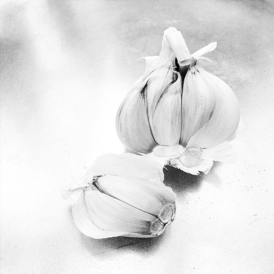 Black and white photo of Garlic bulb and cloves Garlic Bulb Cloves Clove Herb Spice Root Vegetable Food Ingredient Flavour