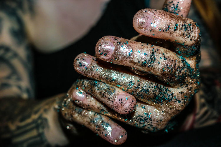Close-up Focus On Foreground Shiny Indoors  Multi Colored Human Body Part Black Background Glitter Day People One Person Monica Glitter Covered Hands Hands Fingers