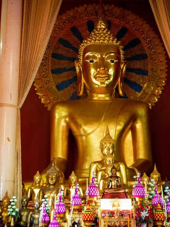 Statue Gold Colored Place Of Worship Religion Religious  Asian Culture Asian Temple Spirituality Thailand Temple Chiang Mai | Thailand Chiang Mai Chiang Mai Thailand Temple Thailand Temple Intricate Details Human Representation Gold Buddha Buddha Statue Buddha Image Buddhastatue Buddha Temple Idol Indoors  No People