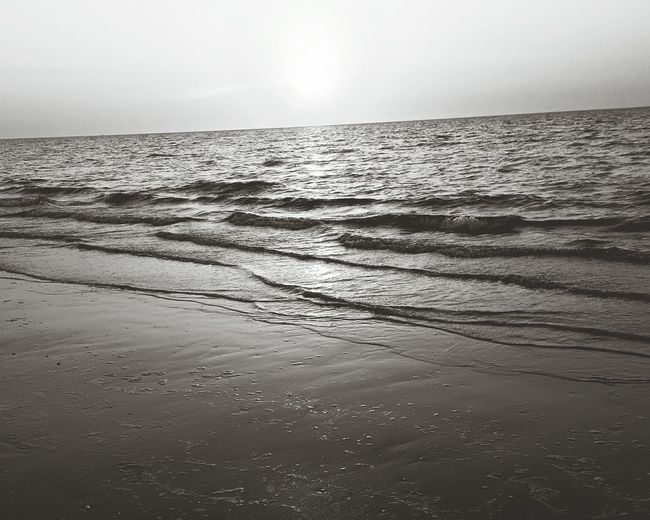 Sunset Sea Scenics Water Sun Horizon Over Water Beauty In Nature Beach Summer Splashing Holland Ocean Sand Sky Walking Outdoors Beachseason Backgrounds Finding Paradise Wave Black And White Photography