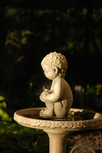 Birdbath Boy With Bird Close-up Concrete Sculpture Statue