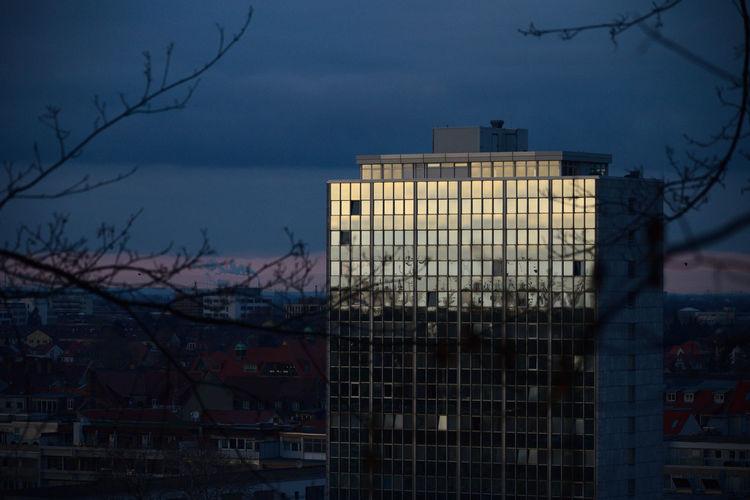 Building against sky at dusk