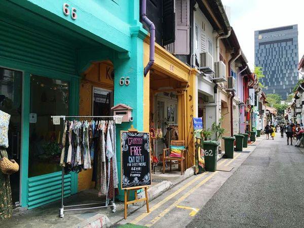 Street City Store Lifestyles Architecture Cityscape Singapore Singapore View City Architecture Asian  Buildings Haji Lane, Singapore Hajilane Vivid Colours