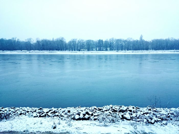 Scenic view of lake in winter