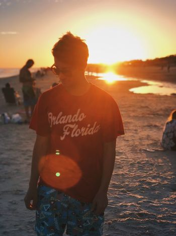 Me in the sunset Sunset One Person Incidental People Sky Leisure Activity Sunlight Real People Beach Nature Standing Men Outdoors Water