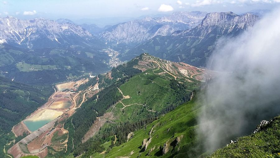 High Angle View Of Panoramic Shot Of Land And Mountains