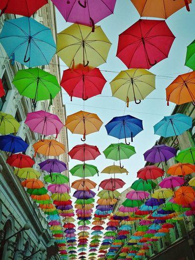 Umbrella Umbrellas Colorful Umbrellas Timisoara Timis Banat  Romania Sky View From Below Eastern Europe Europe Sky Sunny City Urban Multi Colored Full Frame Backgrounds Art And Craft Close-up Various Craft Collage Handmade ArtWork Mosaic Colorful Decorative Art Display Art