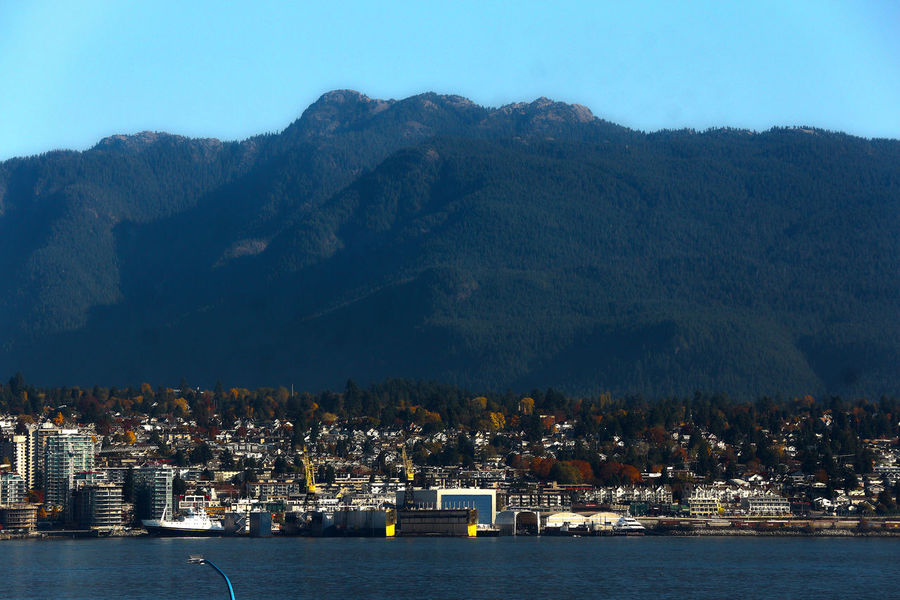 North Vancouver mountains Canada B.C. Mountain Landscape Urban Skyline North Vancouver Canada B.C Sea Water Outdoors