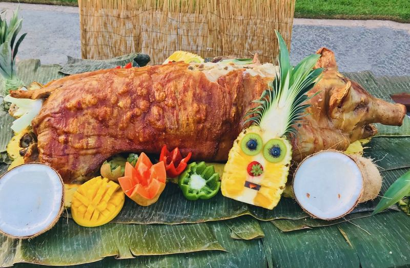 The Kalua Pig is ready to be served! Celebration Feast Kalua Close-up Dinner Food Food And Drink Freshness Fruit Garnish Healthy Eating High Angle View Indoors  Meal Meat No People Plate Ready-to-eat Seafood Serving Size Still Life Table Vegetable Wellbeing Wood - Material
