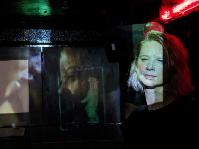 Portrait of woman looking at the dance floor