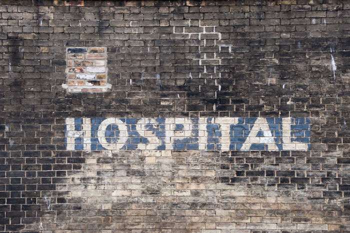 Old Painted Hospital Sign Brick Wall Bricks Close-up Communication Day DISUSED Horizontal Hospital Hospital Sign Letters No People Old Outdoors Painted Painted Bricks Painted Sign Sign Text Type Typography