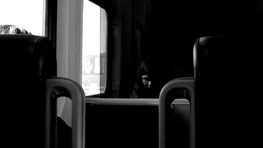 Woman On A Train Window Chair Close-up Indoors  Day Interior Tranquility Eyemphotography PENTAX Q Straightfromcamera NoEditNoFilter Solitude Blackandwhite Taking Photos Remote Reflection Reflection_collection