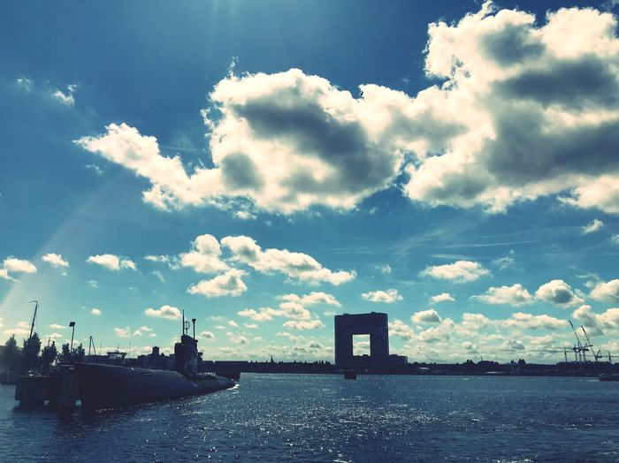 From north to south Square Sky Cloud - Sky Water Architecture Built Structure Nature No People Building Exterior Waterfront Day City Silhouette Outdoors Transportation Beauty In Nature Sunlight Building