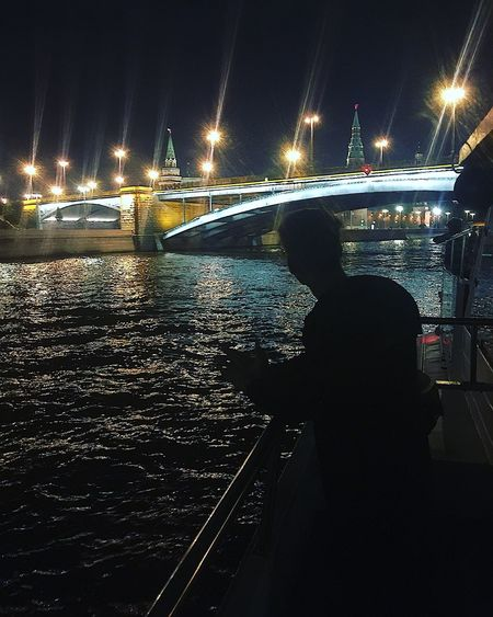Welcome to the new life Travelling Travel Mantle Parkgorkogo Moscow Riverview Riverside River Yacht Ship Night Illuminated Water Nature Real People Transportation Mode Of Transportation Lifestyles Sea Sky Nautical Vessel City