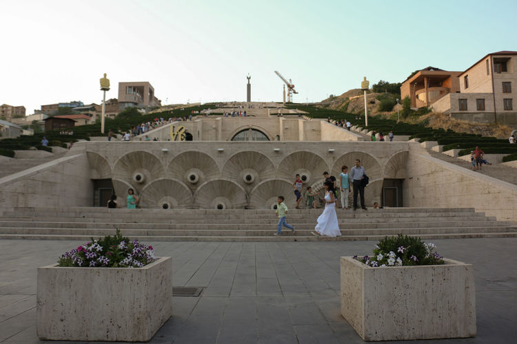 Architecture Armenia City Life Evening Sky Famous Place Perspective Stairs Symmetry Yerevan Yerevan Cascade