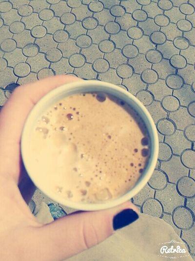 Getoutside Drinking Coffee ☕ Espresso❤ Thats Me ♥ Myhand Hotcoffee Feeling Good √