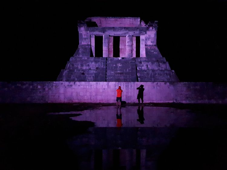 Chichen Itza de noche Mayan Ruins Arqueology Night Purple Travel Destinations Illuminated Outdoors Architecture People Adult