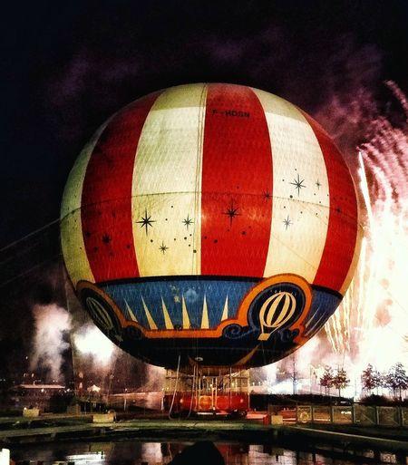 View of hot air balloon at night