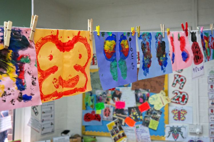 Children's Art Art Child Close-up Colorful Education Finger Painting Hanging Multi Colored School The Color Of School
