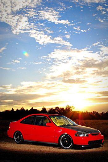My old Honda Civic EJ8 B18c Sunrise Clouds And Sky Beautiful