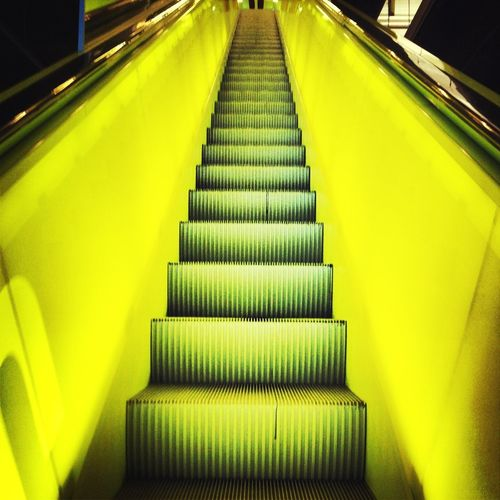 Escalator Yellow Goingup Seattle Central Library