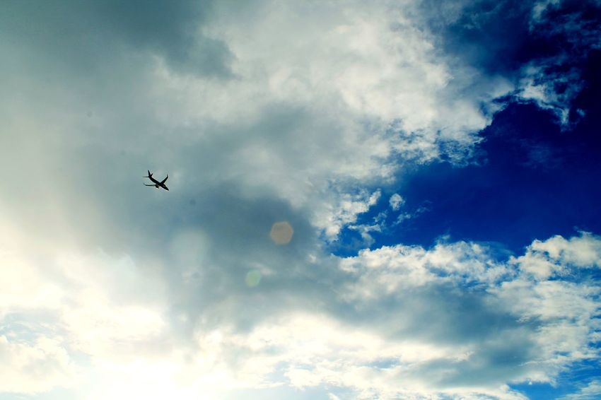 See you soon Morning Sky Morning Sky Morning Flight Daylight Day Daylight Photography Cloud Clouds And Sky Cloud - Sky Sky Low Angle View Flying Nature Silhouette Mid-air Transportation Air Vehicle Day Airplane No People