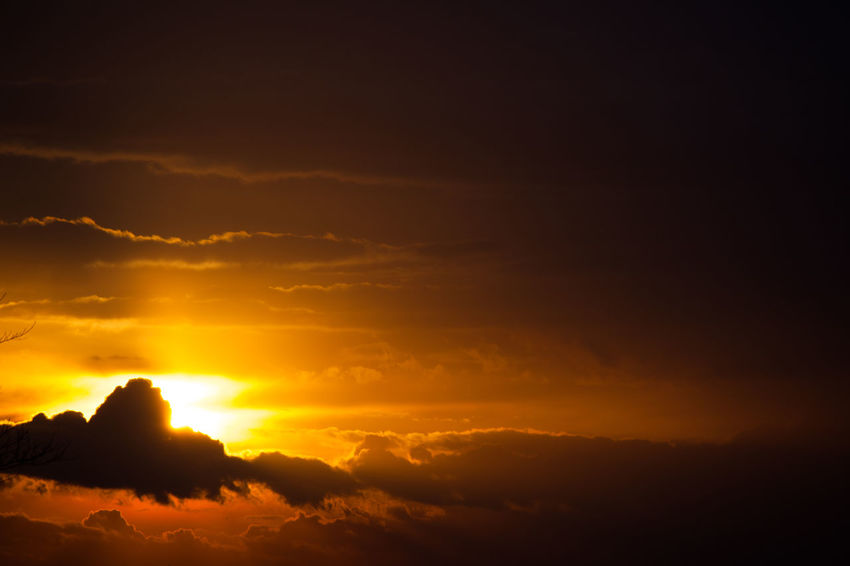 Beauty In Nature Cloud - Sky Day Idyllic Nature No People Orange Color Outdoors Scenics Silhouette Sky Sun Sunlight Sunset Tranquil Scene Tranquility Yellow
