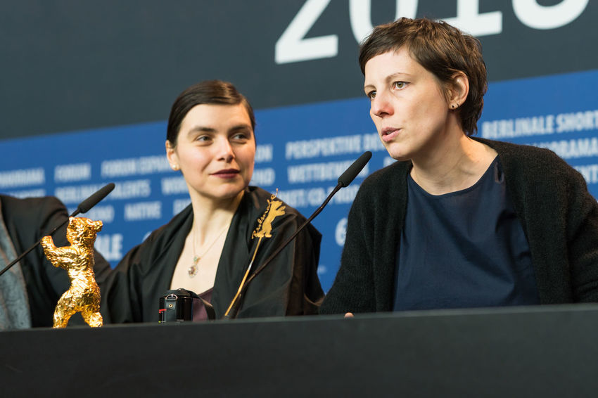 Berlin, Germany - February 24, 2018: Director Adina Pintilie, Golden Bear Award for Best Film 'Touch Me Not', and producer Bianca Oana at the Award Winners press conference during the 68th Berlinale AWARD Closing Ceremony Film Festival Golden Bear Interview Adina Pintilie Arts Culture And Entertainment Berlinale Berlinale 2018 Berlinale Festival Berlinale2018 Best Film Bianca Oana Director Entertainment Entertainment Event Film Director Golden Bear Award Mass Media People Press Conference Touchmenot Two People Winner Young Adult