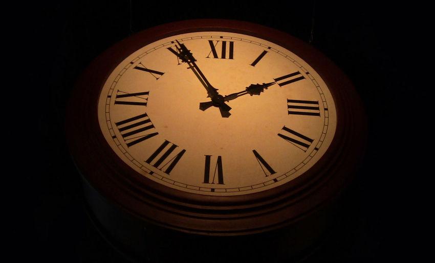 Clock Clock Face Geometric Shape Illuminated Low Angle View No People Time Vignette