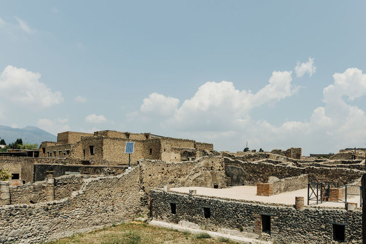 Architecture Sky Built Structure Cloud - Sky History The Past Building Ancient Day Nature No People Old Travel Destinations Wall Old Ruin Travel Outdoors Tourism Ancient Civilization Stone Wall Pompeii  Ruins Ruins Architecture Pompeii Ruins Italy