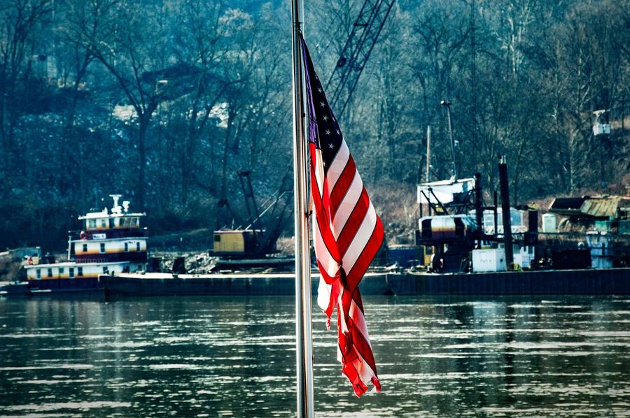 Usflag Flag Pole Riverside River Riverscape Winterscapes Crane Americana