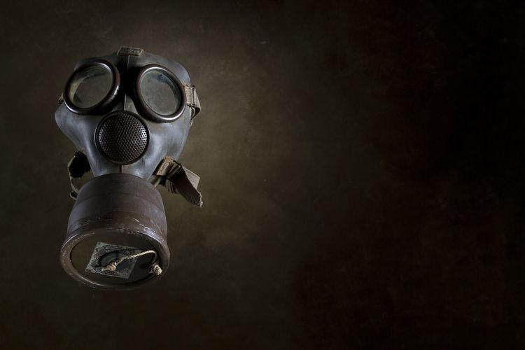 High angle view of gas mask on table
