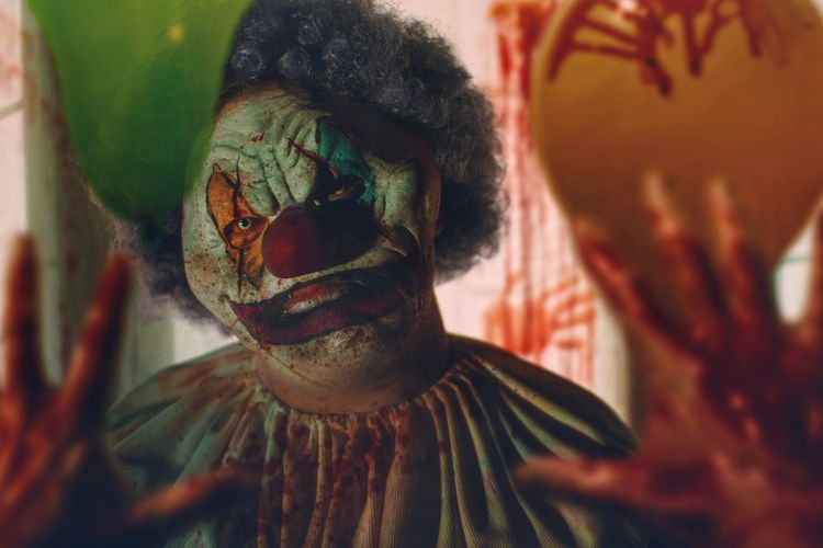 Clowns just want to have fun. Clown Creepy Dark Evil Horror Fear Balloon Photoshop Monster Horror Photography Film Photography Horror Movies Horror Portrait Halloween darkness and light Death Blood Party Colour Hands Headshot Portrait Close-up