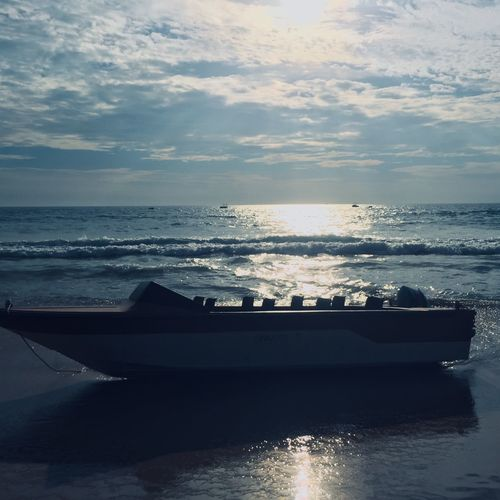 Water Sea Sky Horizon Over Water Horizon Cloud - Sky Scenics - Nature Beauty In Nature Nature Sunset Waterfront Land No People Tranquility Tranquil Scene Idyllic Beach Nautical Vessel Transportation Outdoors