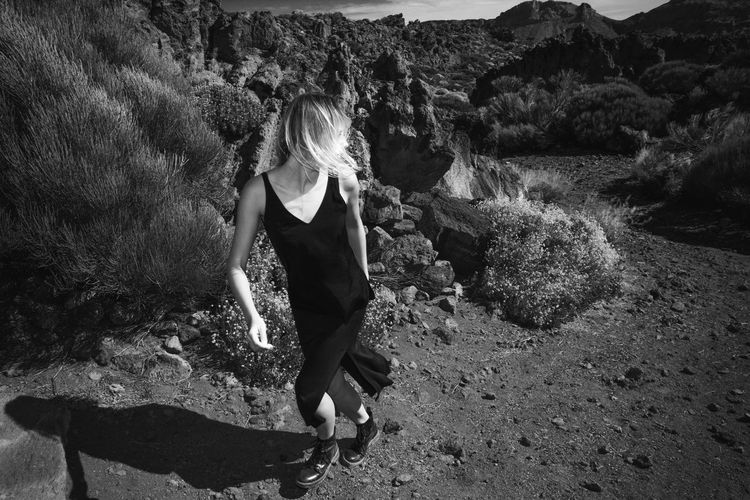Full Length Of Young Woman At Desert