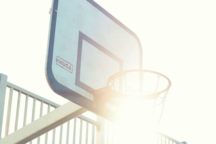 Basketball hoop Railing Nature Architecture Sunlight Communication Low Angle View Day Guidance Clear Sky Outdoors Western Script Steps And Staircases No People Sky Staircase Text Built Structure Sign Metal Building Exterior
