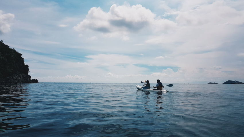 Water Sea Tranquility Day Outdoors Cloud - Sky Nautical Vessel Scenics Nature People Adult Beauty In Nature Horizon Over Water Sky Young Adult Rowing
