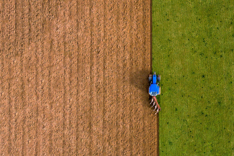 High angle view of man working on field