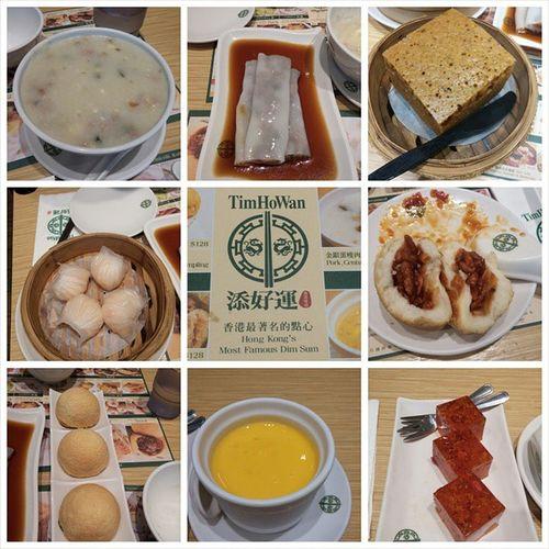 Finally eat in Taiwan's Timhowan. These are so delicious. 終於吃到台灣的添好運美味しい Timhowan 金銀蛋瘦肉粥 免治牛肉腸 香滑馬來糕 酥皮焗叉燒包 晶瑩鮮蝦餃 楊枝甘露 妃子桂花糕