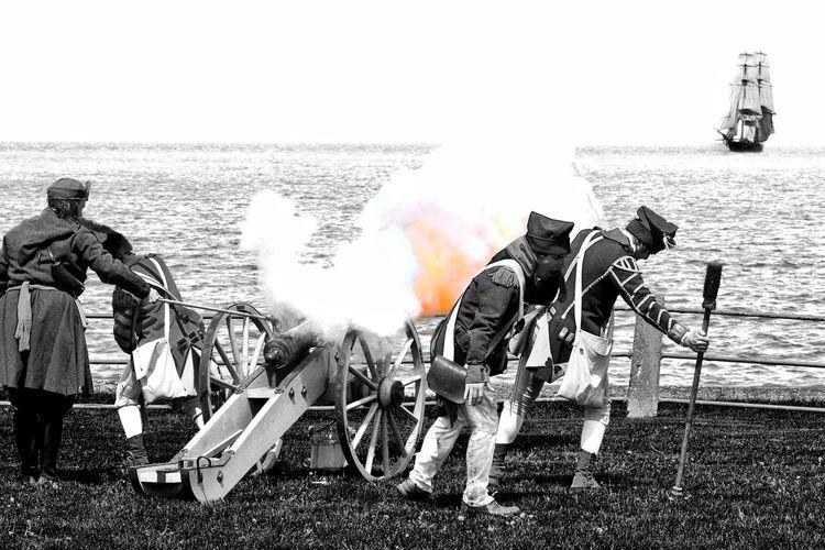 Battle at Fort Niagara Fort Niagara State Park Fort Niagara Old Fort Niagara Reenactment Re-enactment EyeEm Best Shots EyeEm Gallery EyeEmNewHere EyeEm Selects EyeEmBestPics EyeEm Best Edits EyeEm Best Shots - Black + White Fort Niagara Reenactment Day Cannon History Historic Historical Place Historical War Of 1812 Lake Ontario