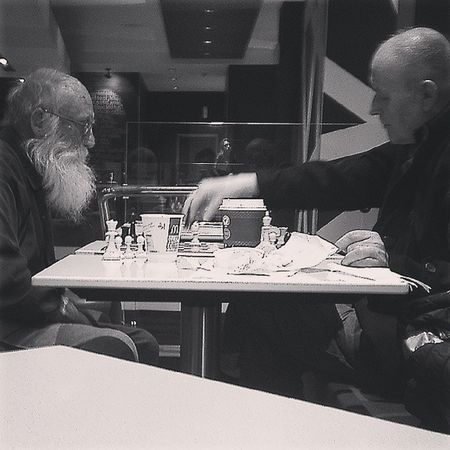lol two old men playing chess at McDeez Mickeydeez Maccas