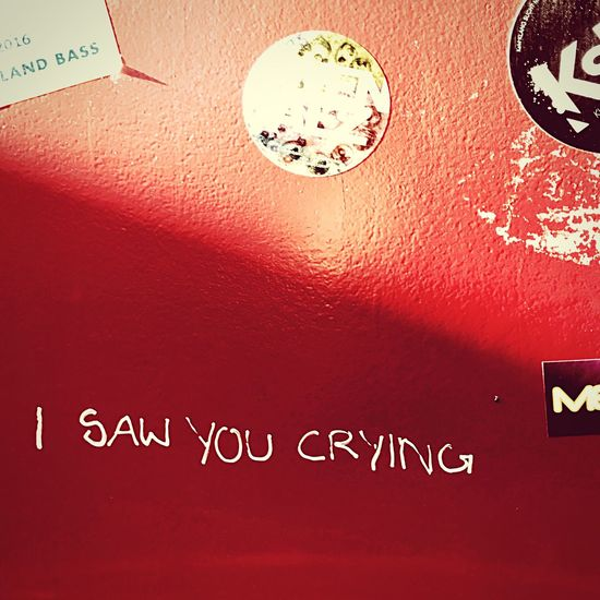 i saw you crying Graffiti Red Red Door Stickers Shadow Reality Hits Awake For Too Long Techno Tanzhauswest