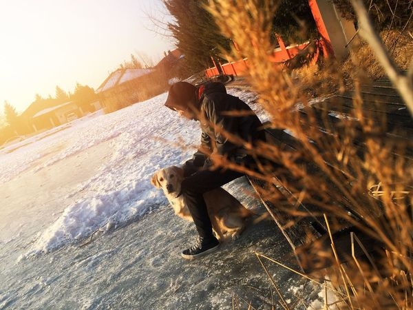 My Goldenretriever🐶  It was an incredible afternoon with my dog and my brother! Pets Goldenretriever Winter Brother Golden Hour Lake Ice Sunset