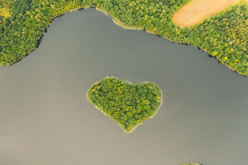 Heart island in a beautiful body of water.