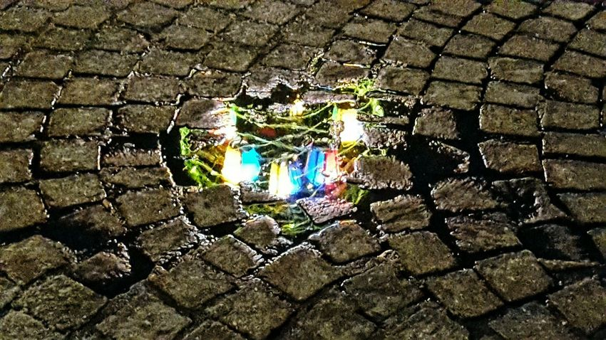 Reflections Christmas Lights Streetlamp Multicolored Reflections In The Water Pathway Old Path High Angle View Street Street Photography Walking Around The City  Break The Mold