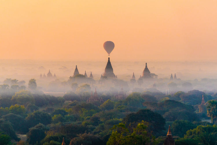 Temples Timing Timing Is Everything Travel Trees Ancient Architecture Ancient Civilization Bagan Bagan, Myanmar Buddhism Burma Dawn Fog Hazy  Hot Air Balloon Mist Myanmar Plain Sunrise Sunset Temple Travel Destinations